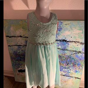 Girls Embellished Teal Dress